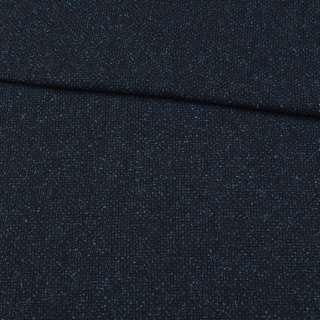 Шерсть костюмная синяя меланж, ш.152 оптом