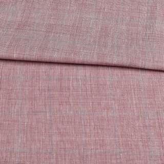 Шерсть костюмна в бордово-білу клітинку ш.155 оптом