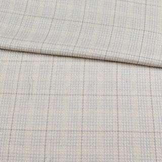 Шерсть костюмная серо-голубая в молочную клетку ш.155 оптом