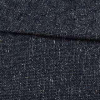Шерсть костюмная синяя меланж в бело-бежевые вкрапления ш.150 оптом