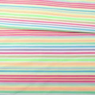 Коттон стрейч белый в сиреневую, голубую, оранжевую полоску, ш.154 оптом