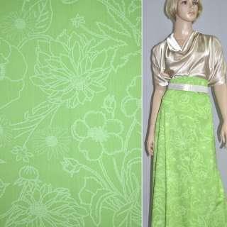 котон св. зеленый  с бл. цветами шир.154 см оптом