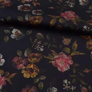 Коттон стрейч черный, розовые, оранжевые цветы, ш.127 оптом