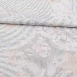 Коттон стрейч молочный в серую полоску, бежевые, белые цветы, ш.140 оптом