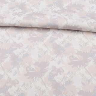 Коттон стрейч белый, бежево-серые цветы, ш.138 оптом