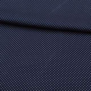 Коттон стрейч синий темный в мелкий белый горох, ш.138 оптом