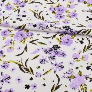 Коттон APANAGE белый, сиреневые цветы, ш.150 оптом