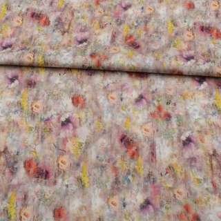 Коттон стрейч APANAGE бежевый, разноцветные акварельные цветы, ш.160 оптом