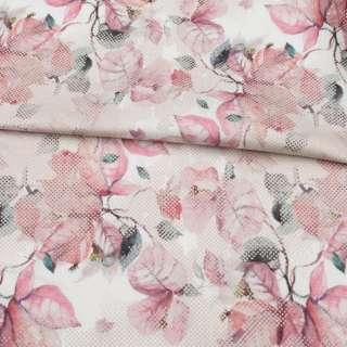 Коттон стрейч APANAGE белый, розовые листья, бежевые точки, ш.128 оптом