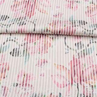 Коттон стрейч APANAGE бежевый, розовые цветы, белая полоска, ш.128 оптом