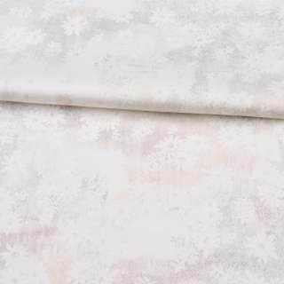 Коттон стрейч APANAGE белый, золотистые мелкие точки, белые цветы, ш.127 оптом