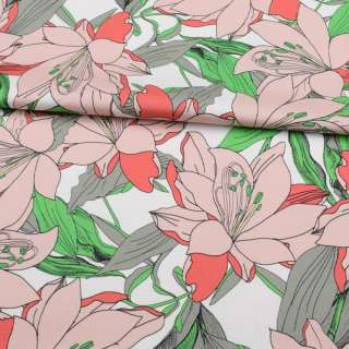 Коттон стрейч APANAGE белый, большие розовые цветы, зелено-серые листья, ш.131 оптом