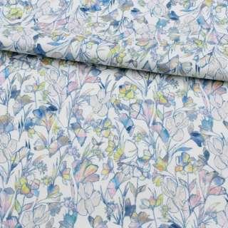 Коттон стрейч APANAGE белый, радужные цветы, ш.135 оптом