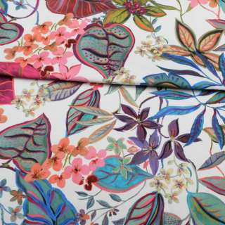 Коттон стрейч APANAGE белый, розовые, синие цветы, листья, ш.135 оптом