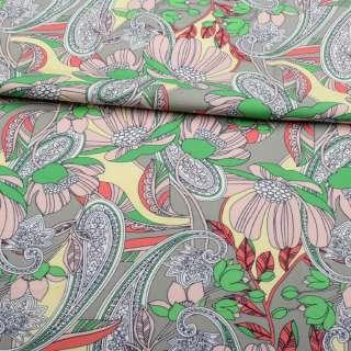 Коттон стрейч APANAGE серый, розовые цветы, бело-синие узоры, ш.135 оптом
