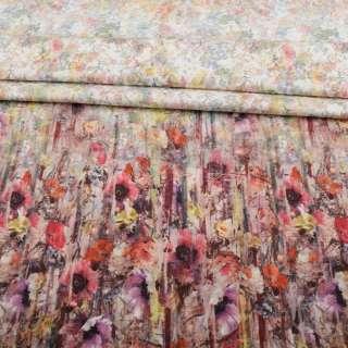 Коттон стрейч APANAGE белый, мелкие акварельные цветы, раппорт 117 см, ш.155 оптом