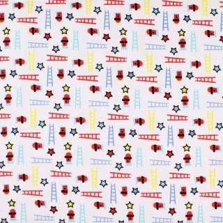"""Коттон """"Druck""""белый в красные,голубые,желтые звезды и лестницы ш.140 оптом"""