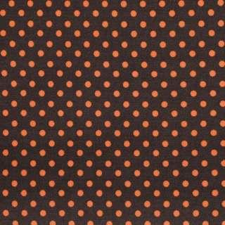 """Коттон """"Druck"""" коричневый в оранжевый мелкий горох ш.142 оптом"""