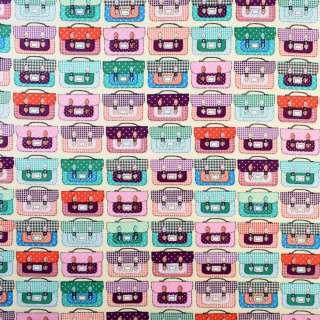 Коттон кремовый в разноцветные чемоданы, ш.145 оптом