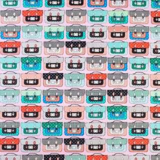 Коттон розовый в разноцветные чемоданы, ш.145 оптом