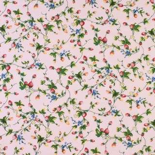 Коттон розовый в красные клубнички и белые цветы, ш.146 оптом
