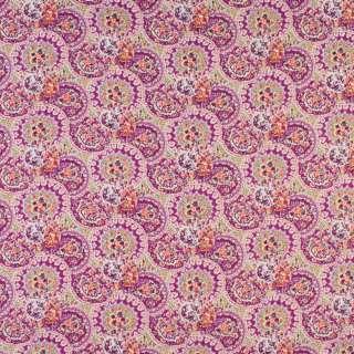 Коттон лиловый в круги с цветочным узором, ш.144 оптом