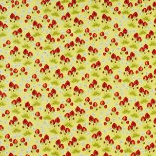 Коттон желтый в красные клубнички и белые цветы, ш.146 оптом