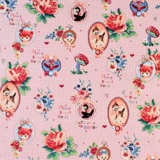 Коттон розовый в клетку с медальонами и розами, ш.146 оптом