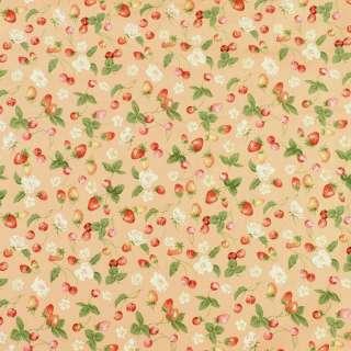 Коттон бежевый в клубнички, вишни и белые цветы, ш.146 оптом