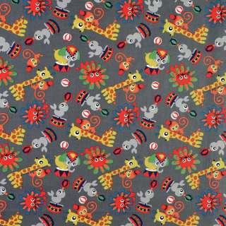 Коттон серый в жирафы, обезьянки, львы, ш.146 оптом
