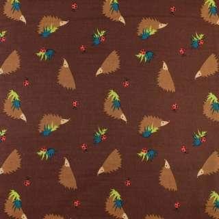 Коттон коричневый темный в коричневые ежики, ш.135 оптом