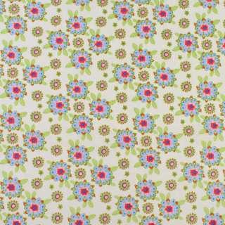 Коттон кремовый в розово-голубые цветы, зеленые листья, ш.136 оптом