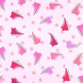 """Коттон """"Darling"""" розовый в разноцветные кеды, ш.136 оптом"""