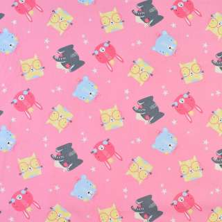 Коттон розовый мишки, слоники, котики, ш.140 оптом