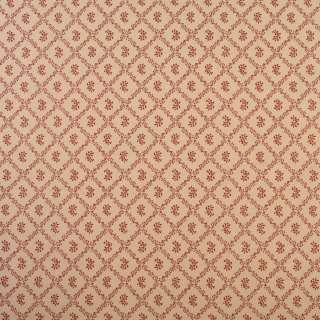 Коттон бежевый в ромбы из красных листьев с цветами, ш.110 оптом
