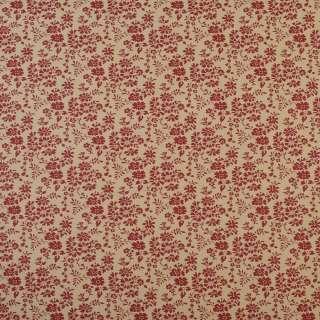 Коттон бежевый в мелкие красные цветы и листья, ш.110 оптом