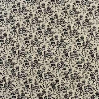 Коттон кремовый в мелкие черные цветы и листья, ш.110 оптом