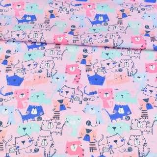 Коттон розовый, разноцветные коты, ш.143 оптом