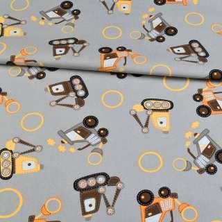 Коттон серый, желтые, оранжевые трактора, ш.145 оптом