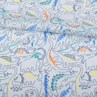 Коттон голубой, разноцветные динозавры, ш.145 оптом