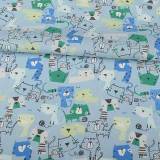 Коттон голубой, синие, голубые, зеленые кошки, ш.145 оптом