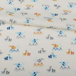 Коттон белый, серые, голубые дракончики, ш.155 оптом