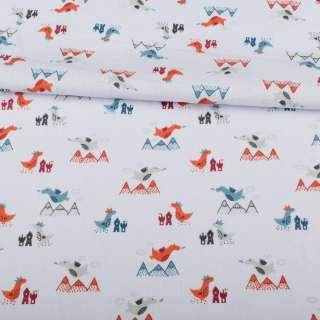 Коттон сиреневый светлый, серые, оранжевые дракончики, ш.155 оптом