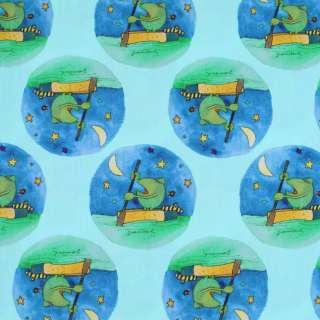 """Коттон """"Popelin"""" светло-бирюзовый лягушки на синих кругах ш.147 оптом"""