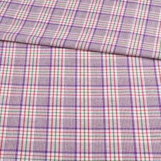 Шотландка костюмная белая в фиолетово-красную клетку ш.150 оптом