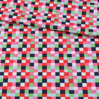 Коттон в красные, розовые, синие квадратики, ш.145 оптом