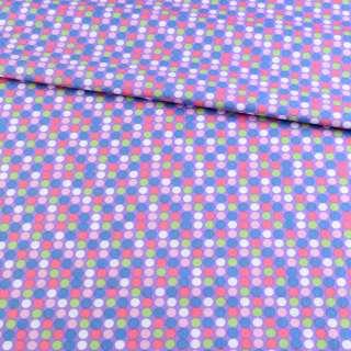 Коттон бузковий в синій, рожевий, білий горох, ш.145 оптом