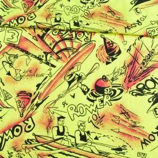 Коттон желтый неоновый, черные лодки, ш.150 оптом