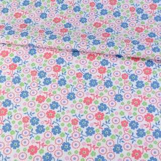 Коттон белый в синие, розовые, зеленые цветочки, ш.145 оптом
