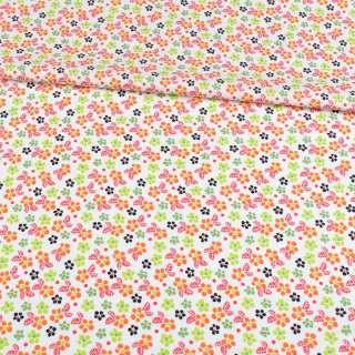 Коттон белый в оранжевые, зеленые цветочки, ш.148 оптом